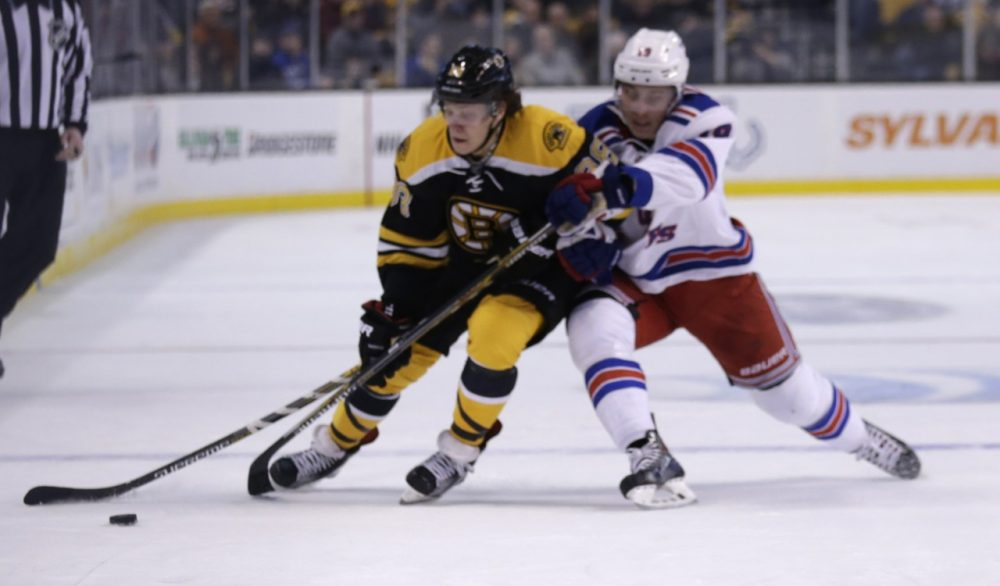 Boston Bruins left wing David Pastrnak (88) tries to elude New York Rangers right wing Jesper Fast (19) during the second period of an NHL hockey game in Boston on Thursday. (Charles Krupa/AP)