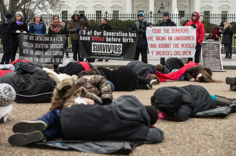 Anti-abortion activists stage a 'die-in' in front of the White House in Washington, D.C. on January 21, 2015 on the eve of the 42rd anniversary of the Supreme Court's decision on Roe v Wade to legalize abortion in the U.S. (Nicholas Kamm/AFP/Getty Images)