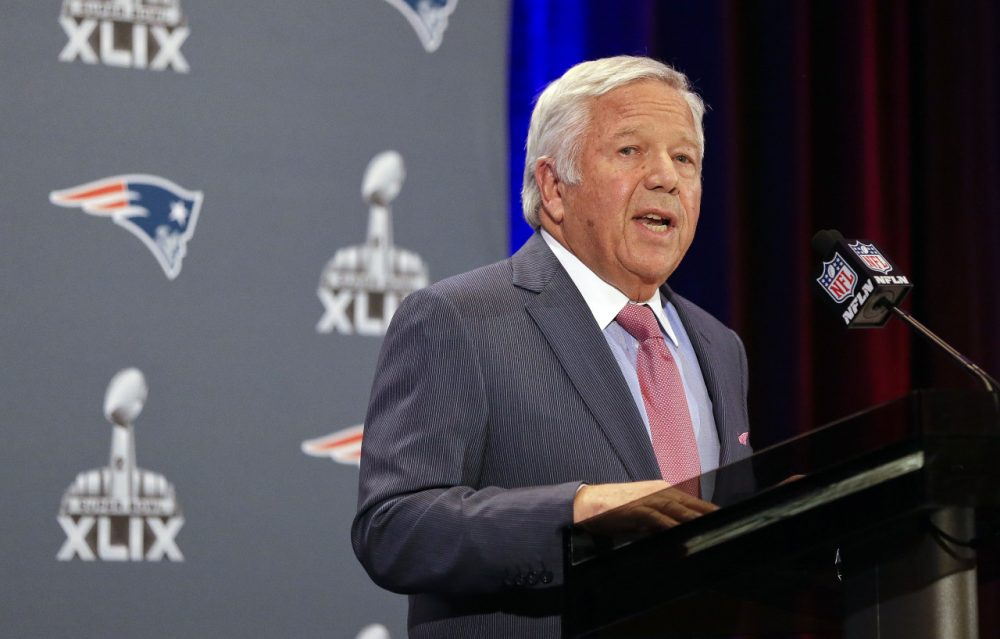 New England Patriots owner Robert Kraft reads a statement during a news conference Monday in Arizona. (Mark Humphrey/AP)