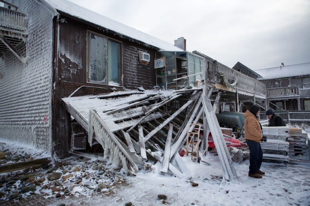 Many homes were damaged on Brant Rock in Marshfield due to a breach in the seawall during the January blizzard. (Jesse Costa/WBUR)