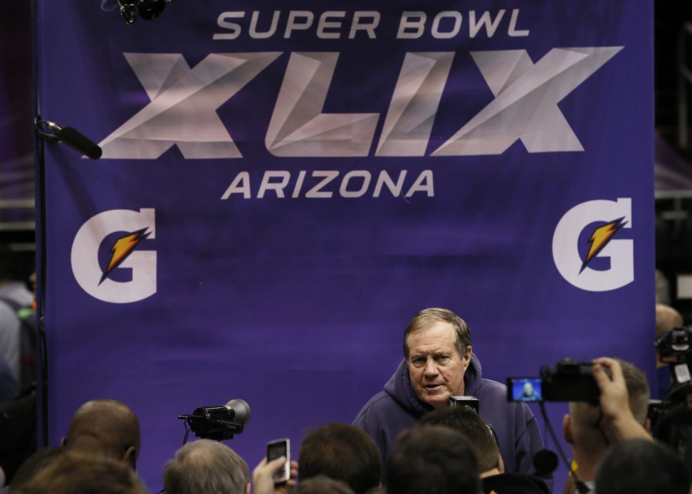 New England Patriots head coach Bill Belichick answers questions during media day for NFL Super Bowl XLIX football game Tuesday. (Matt York/AP)