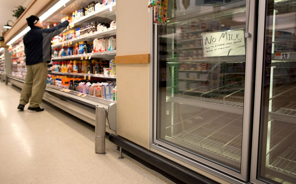 Milk was out of stock at the Stop & Shop at South Bay in Boston Monday afternoon. (Robin Lubbock/WBUR)