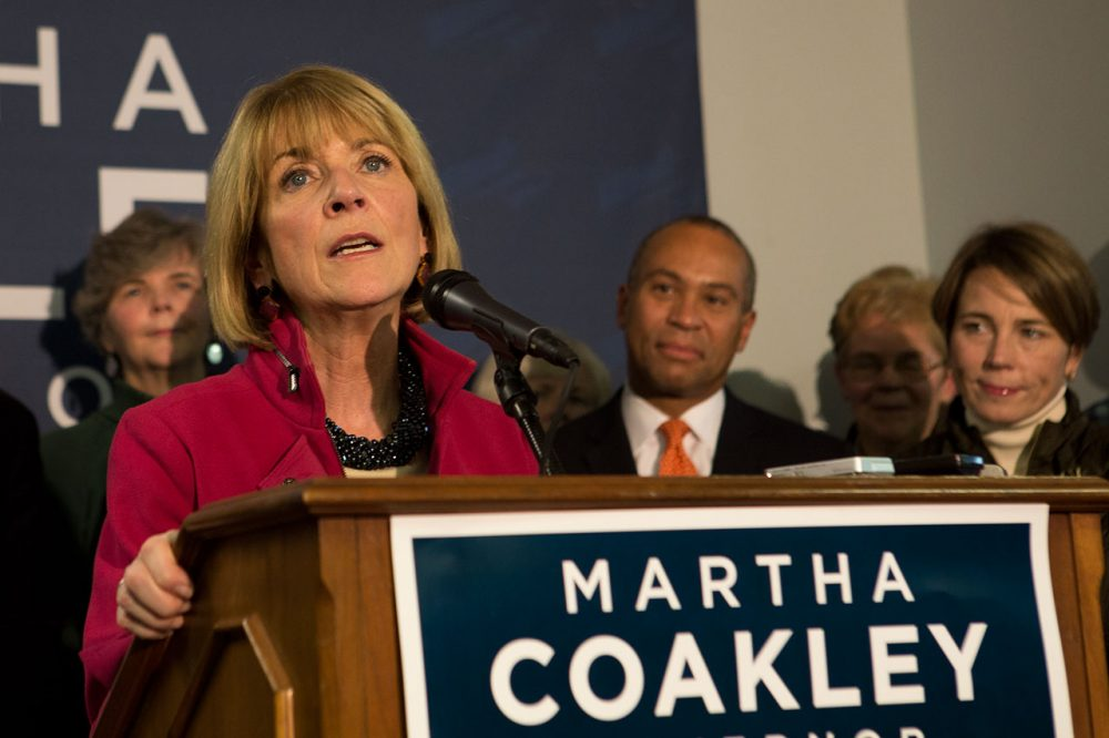 Martha Coakley addresses supporters following her loss to Charlie Baker in the 2014 Massachusetts governor's race. (Jesse Costa/WBUR)