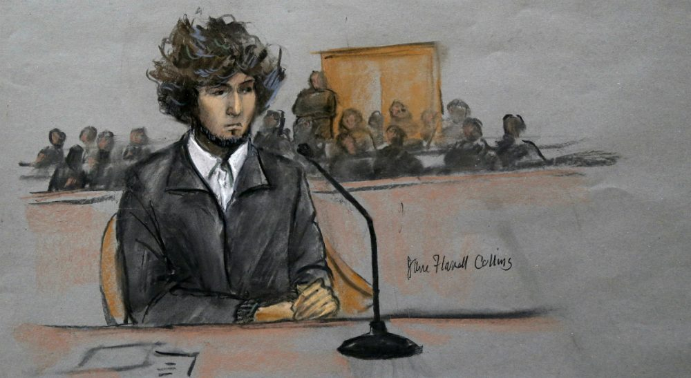 Carol Rose: Serious concerns about due process will keep this death penalty case alive on appeal and in the public eye for years and years to come. In this courtroom sketch, Boston Marathon bombing suspect Dzhokhar Tsarnaev is depicted sitting in federal court in Boston Thursday, Dec. 18, 2014, for a final hearing before his trial. Tsarnaev is charged with the April 2013 attack that killed three people and injured more than 260. He could face the death penalty if convicted. (Jane Flavell Collins/AP)