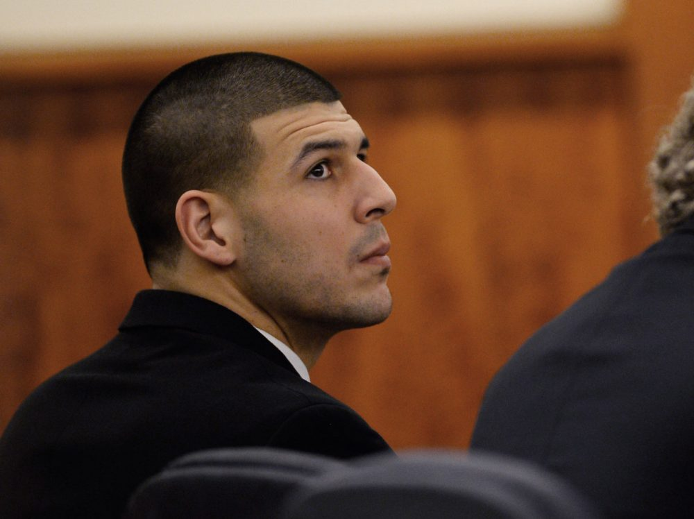 Convicted murderer Aaron Hernandez also faces charges for a 2012 Boston double homicide. (CJ Gunther/Pool/AP)