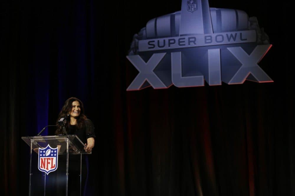 Idina Menzel answers questions at a pre-Super Bowl news conference Thursday in Phoenix. (David J. Phillip/AP)