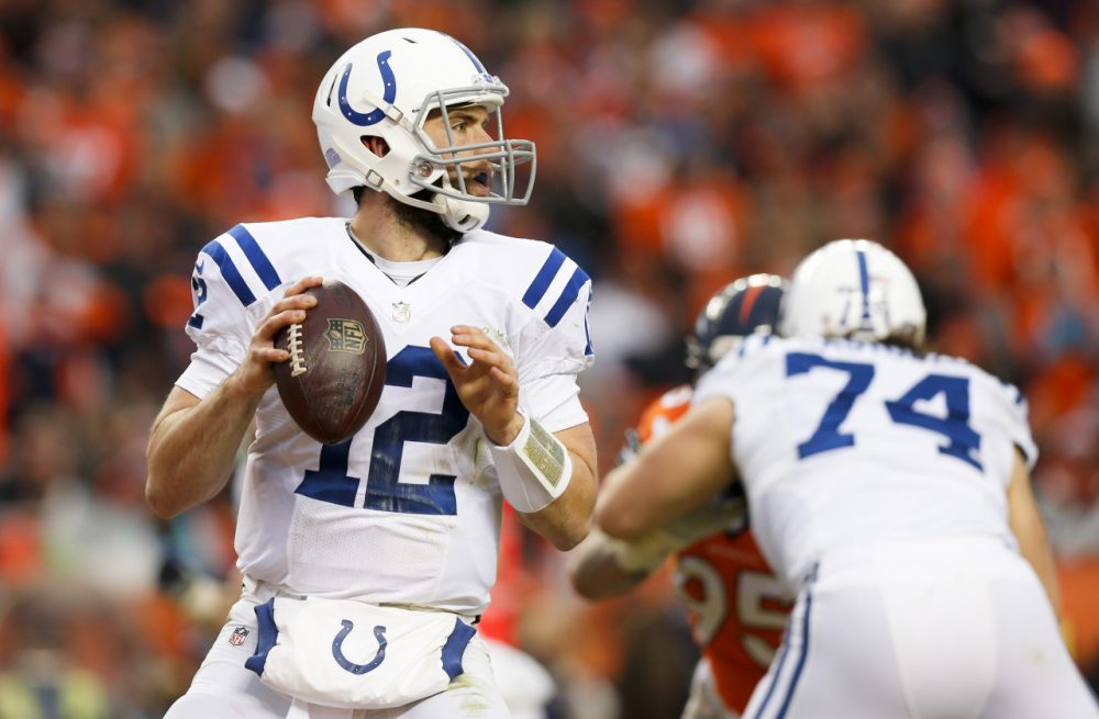 Indianapolis Colts quarterback Andrew Luck looks to throw against the Denver Broncos during the first half of an NFL divisional playoff football game last weekend. (David Zalubowski/AP)
