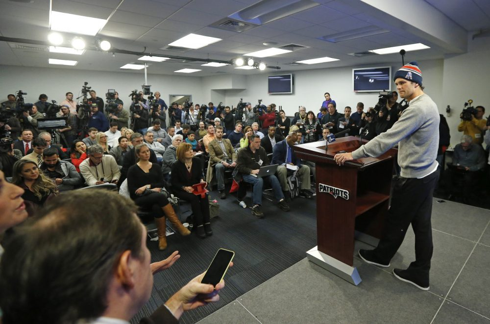 Patriots quarterback Tom Brady faces members of the media at a news conference in Foxborough Thursday. (Elise Amendola/AP)