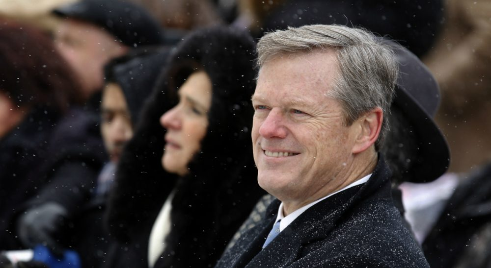 Then-Massachusetts Gov.-elect Charlie Baker on Tuesday, Jan. 6, 2015. Baker was sworn in to office on Jan. 8, replacing outgoing Democratic Gov. Deval Patrick. (Stew Milne/AP)