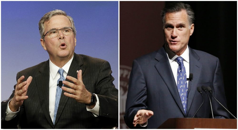 Left: Former Florida Gov. Jeb Bush speaks in San Francisco on Jan. 23, 2015. (Jeff Chiu, AP) Right: Former GOP presidential candidate Mitt Romney addresses the student body and guests at Mississippi State University in Starkville, Miss., Wednesday, Jan. 28, 2015. Romney joked about his time as a candidate and addressed a number of world issues, leading many to believe that he would run for the presidency for a third time in 2016. But on Friday, Romney declared that he would not run. The move has fueled speculation in some corners of a Bush/Romney ticket in 2016. (Rogelio V. Solis/AP)