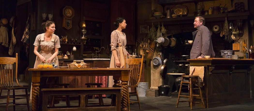 """MacKenzie Meehan, Kathleen McElfresh and Christopher Donahue in """"The Second Girl"""" at the Huntington Theatre Company. (T. Charles Erickson)"""