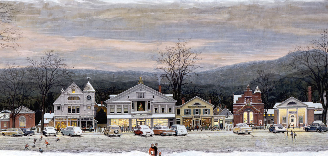 "Norman Rockwell invites you on a holiday walk in ""Stockbridge Main Street at Christmas (Home for Christmas),"" which he painted for McCall's magazine in 1967. There's the public library, the old town office, a Victorian hotel, and, at far right, Rockwell's South Street home and studio from 1953 to 1957. His oil painting of the Berkshires community represents for many the quintessential New England small town. (Norman Rockwell Museum)"