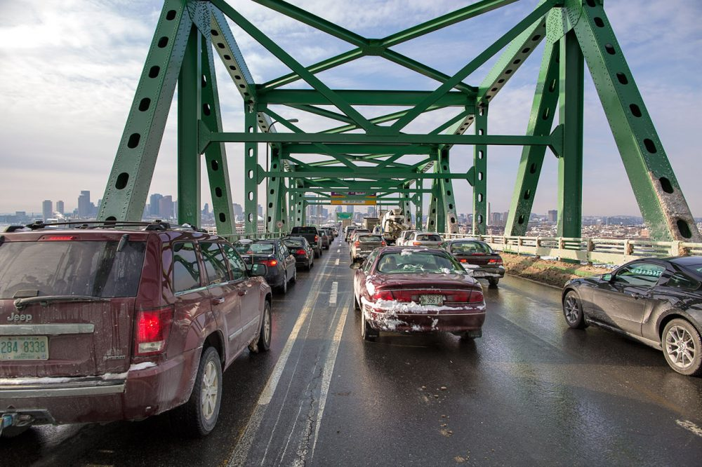 Standstill traffic on the Tobin Bridge heading into Boston Wednesday morning. (Jesse Costa/WBUR)