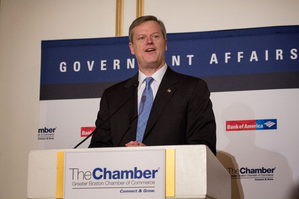 Charlie Baker speaking at the Boston Chamber of Commerce Forum at the Fairmount Copley Hotel on Feb. 5. (Jesse Costa/WBUR)