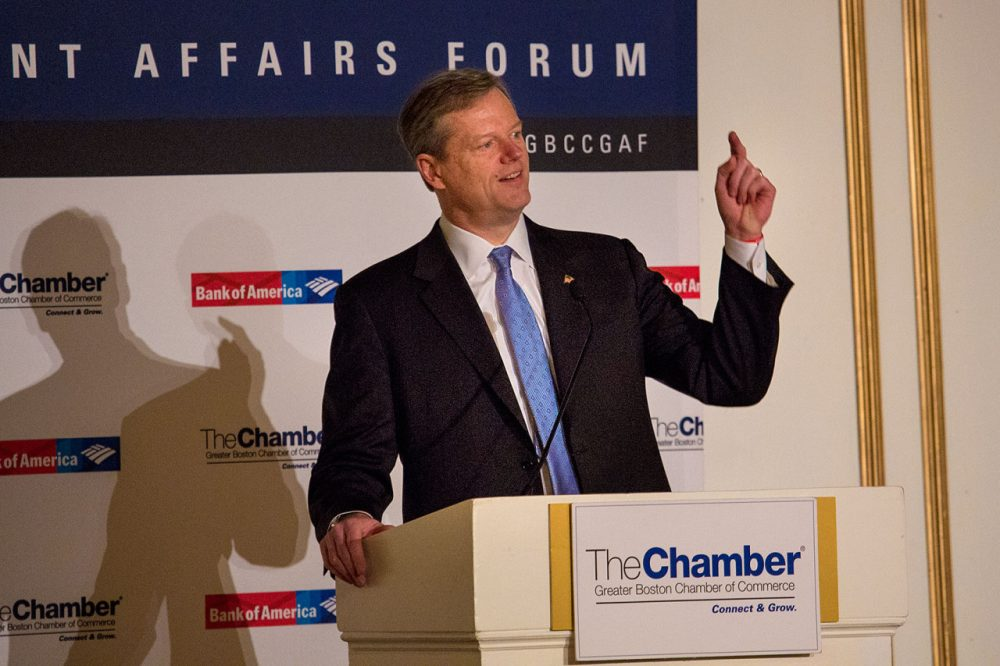 Gov. Charlie Baker addresses the  Greater Boston Chamber of Commerce Thursday morning. (Jesse Costa/WBUR)