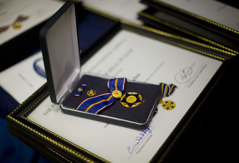 The Medal of Valor Award is seen at the White House Wednesday. Medals are awarded to public safety officers who have exhibited exceptional courage, regardless of personal safety, in the attempt to save or protect others from harm. (Pablo Martinez Monsivais/AP)