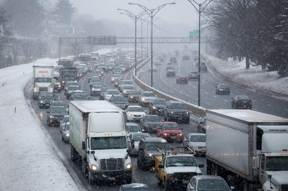 Eastbound traffic on the Mass Pike moves slowly toward the city Wednesday morning. (Robin Lubbock/WBUR)