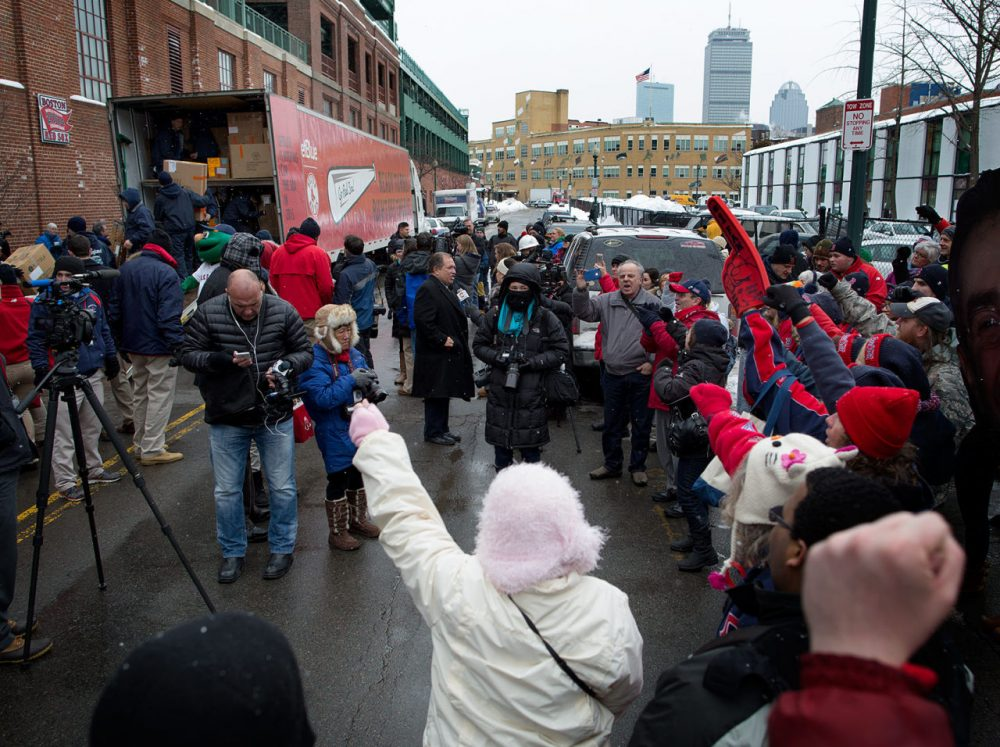 Spring will come: Thursday was Truck Day at Fenway Park. (Robin Lubbock/WBUR)