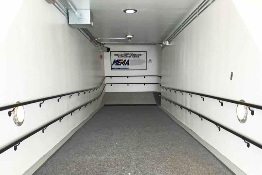 The ramp down to the Massachusetts Emergency Management Agency bunker in Framingham. (Bruce Gellerman/WBUR)
