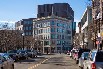 The redesigned Ferdinand building in Dudley Square, soon to become headquarters for Boston Public Schools, looking south on Washington Street (Jesse Costa/WBUR)