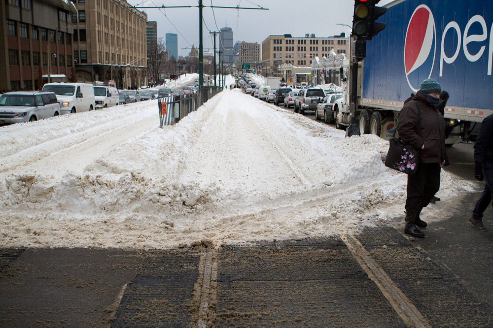 Along Commonwealth Avenue outside WBUR in Boston, there was no Green Line B branch service on Tuesday morning. (Jesse Costa/WBUR)