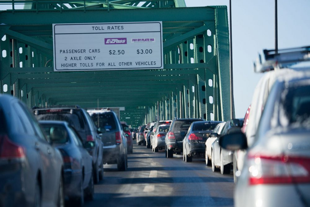 Heavy traffic on Route 1 at the Tobin Bridge. (Jesse Costa/WBUR)