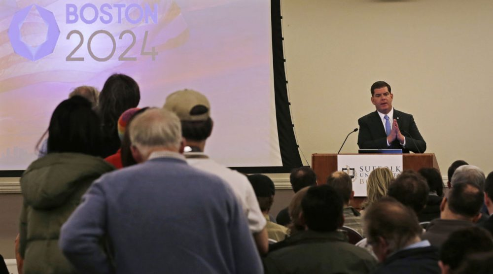 Boston Mayor Marty Walsh addresses the first public forum regarding the Boston 2024 Olympics bid on Feb. 5 at Suffolk Law School. (Charles Krupa/AP)