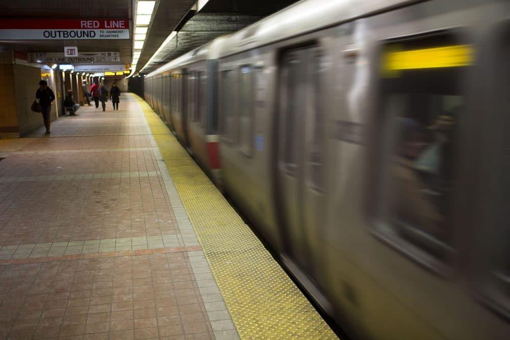 A Red Line train departs South Station. (Jesse Costa/WBUR)