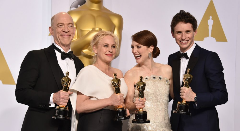"John Winters: Yes, the awards are out of step with the mainstream, but that's good -- and beside the point. Pictured, from left: J.K. Simmons, winner of the award for best actor in a supporting role for ""Whiplash,"" Patricia Arquette, best actress in a supporting role for ""Boyhood,"" Julianne Moore, best actress in a leading role for ""Still Alice,"" and Eddie Redmayne, best actor in a leading role for ""The Theory of Everything,"" pose in the press room at the Oscars on Sunday, Feb. 22, 2015, at the Dolby Theatre in Los Angeles. (Jordan Strauss/AP)"