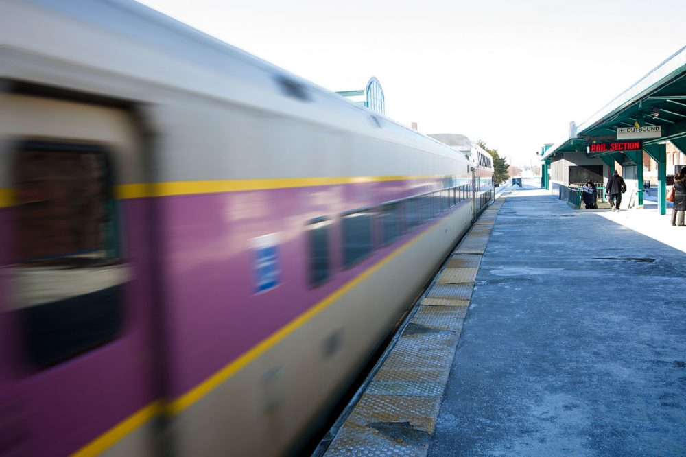 A northbound MBTA commuter rail train leaves Lynn station. (Jesse Costa/WBUR)