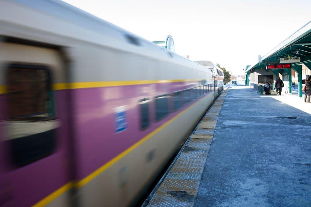 A northbound MBTA commuter rail train leaves Lynn station. (Jesse Costa/WBUR)