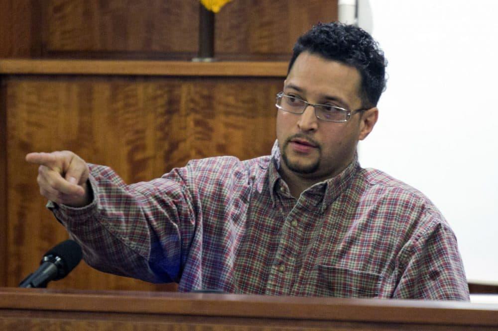 Azia Jenkins testifies during the murder trial for former NFL player Aaron Hernandez Wednesday. (Dominick Reuter/AP)