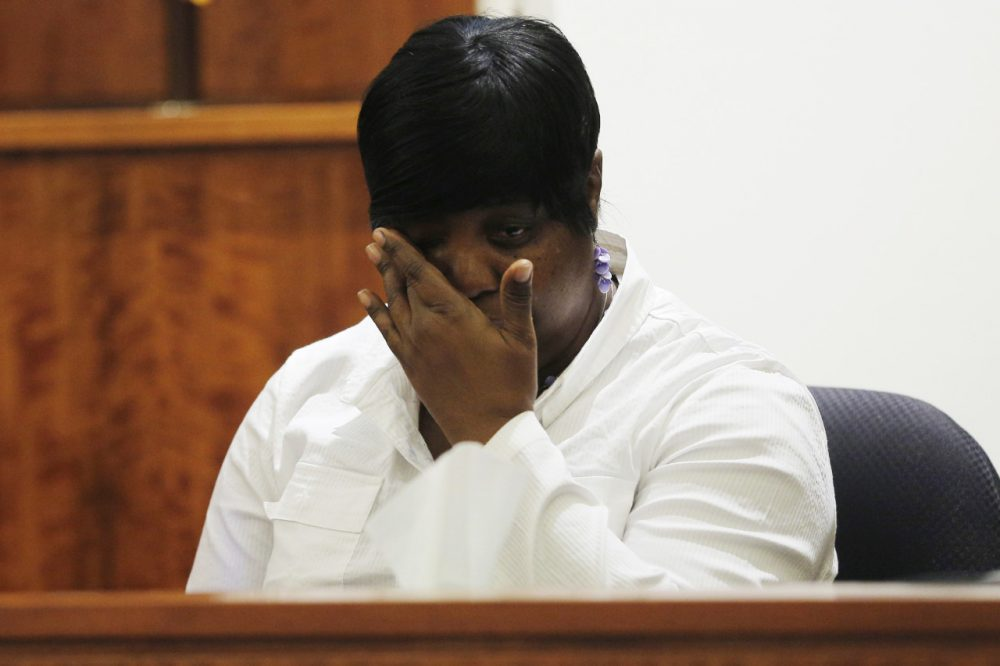 Ursula Ward, mother of Odin Lloyd, testifies Wednesday in the murder trial of Aaron Hernandez, who is accused of killing her son. (Brian Snyder/AP/Pool)