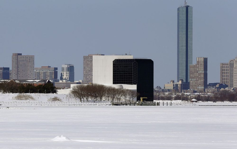 The John F. Kennedy Library sits on the edge of frozen Dorchester Bay in February 2015. (AP)
