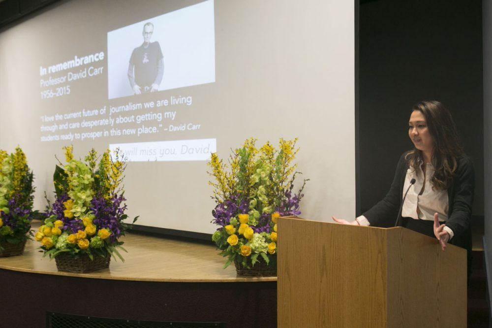 Student Prim Chuwiruch speaks at a memorial service for journalist and professor David Carr at Boston University on Wednesday. (Courtesy Katherine Taylor via BU)
