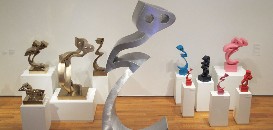 Iranian artist Parviz Tanavoli's iconic Heech sculptures at the Davis Museum. He's been making the sculptures for 50 years. (Andrea Shea/WBUR)