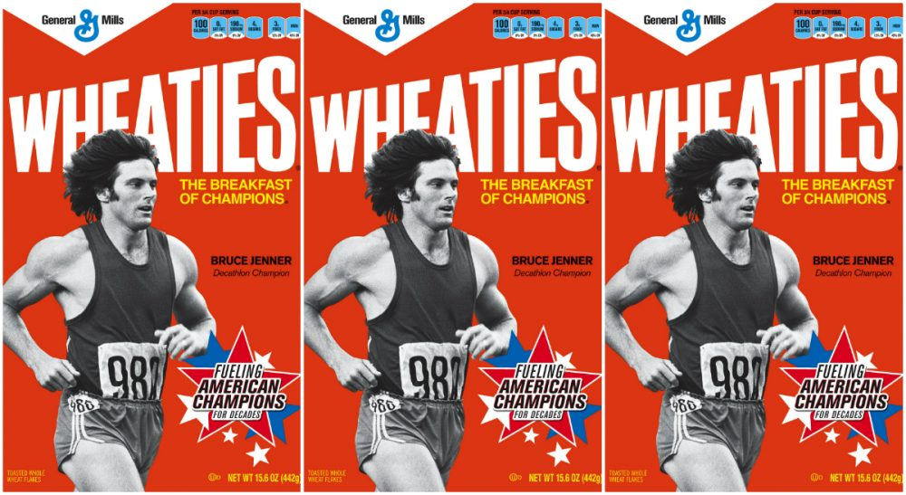 In this image former Olympic decathlete Bruce Jenner is shown on the cover of Wheaties. (General Mills/AP)