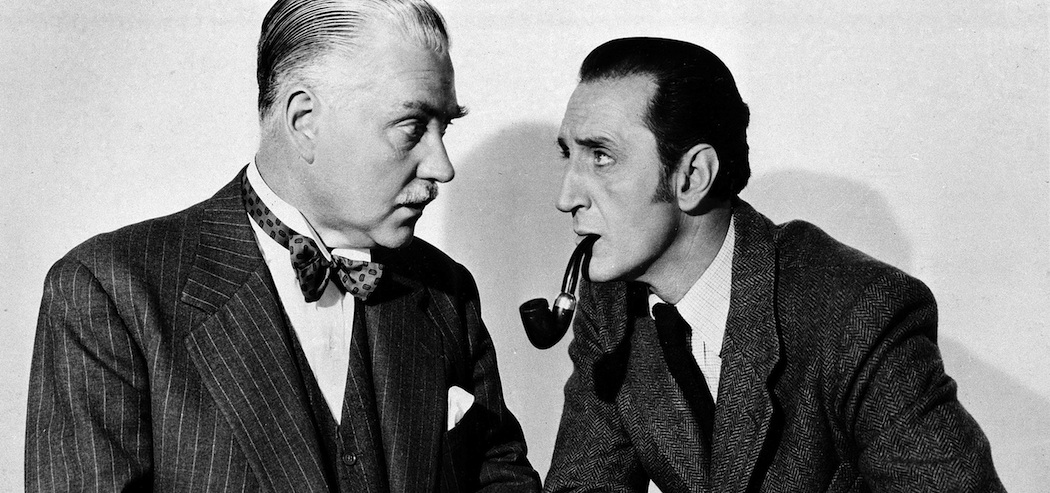 "Nigel Bruce as Dr. Watson and Basil Rathbone as Sherlock Holmes in ""The Adventures of Sherlock Holmes."" (AP)"