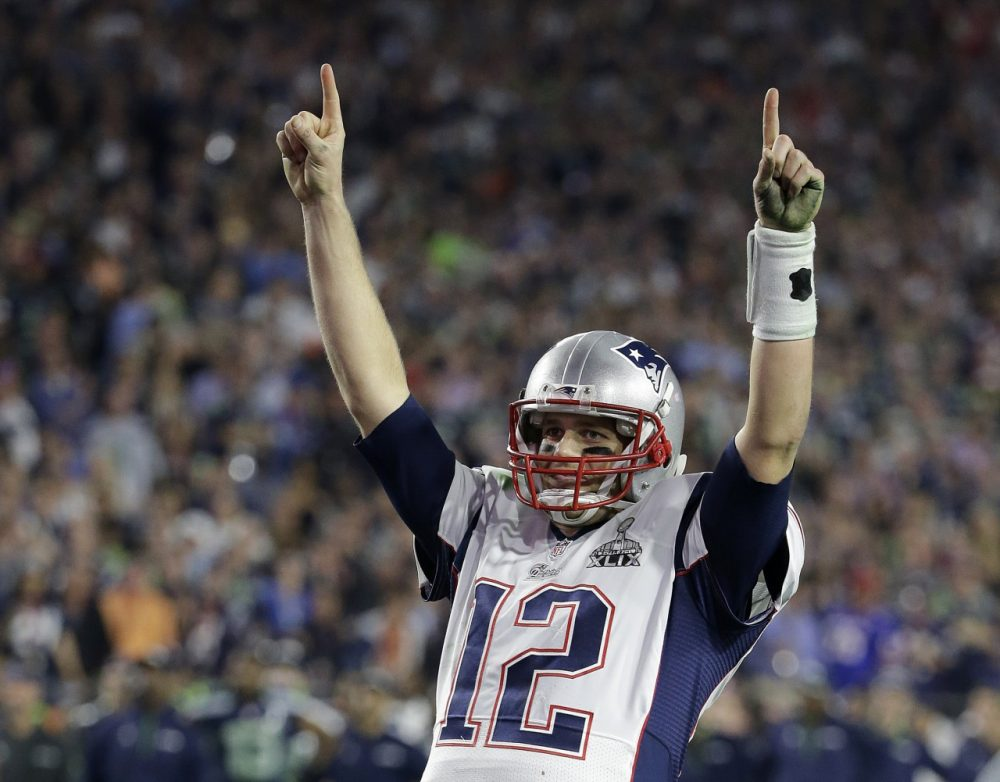 New England Patriots quarterback Tom Brady celebrates during the second half of Super Bowl XLIX. (Kathy Willens/AP)