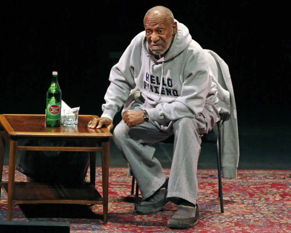 Comedian Bill Cosby performs at the Buell Theater in Denver on Jan. 17. Cosby was scheduled to perform his comedy routine at Boston's Wilbur Theater Sunday. (Brennan Linsley/AP)