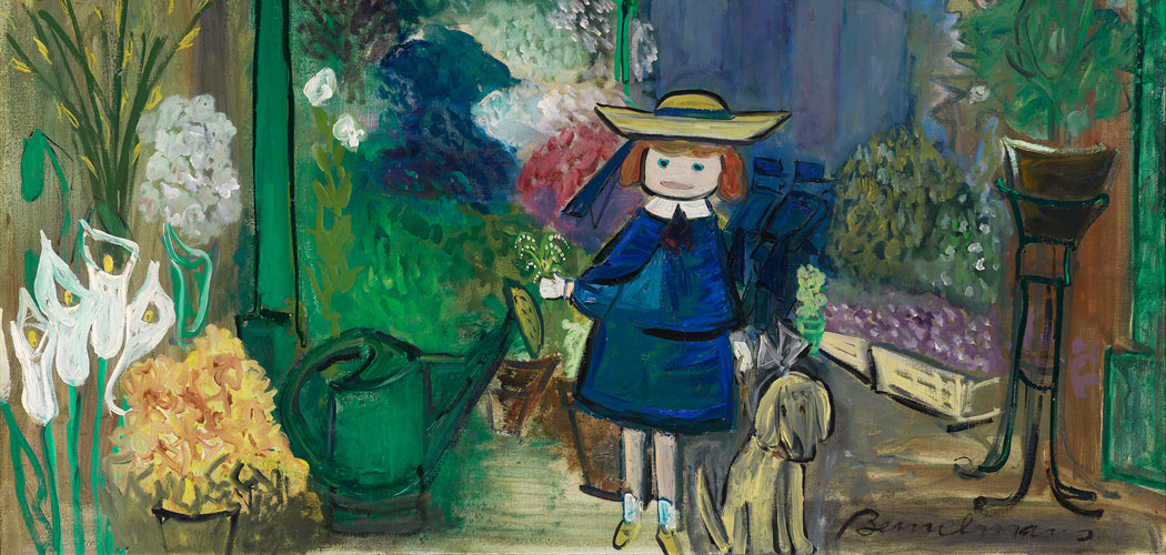 """In the 1950s, Bemelmans began making paintings in oil on canvas, like """"Madeline at the Paris Flower Market"""" from 1955. (From the Eric Carle Museum exhibition. © Ludwig Bemelmans, LLC)"""