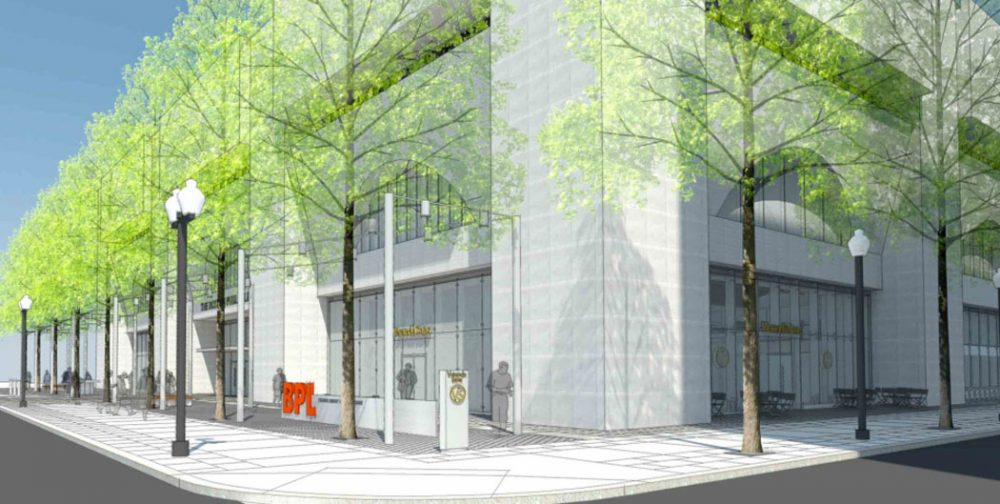 New street trees are planned for the Boylston and Exeter corner of the Johnson Building as shown in this architect's rendering of the renovation. (Boston Public Library)