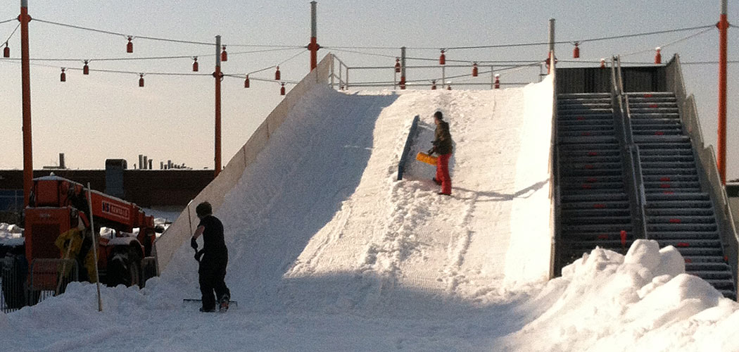 """Preparing the two-story tall sledding hill for """"Slope Fest"""" at Boston's Lawn on D. (Courtney Osgood/Lawn on D)"""