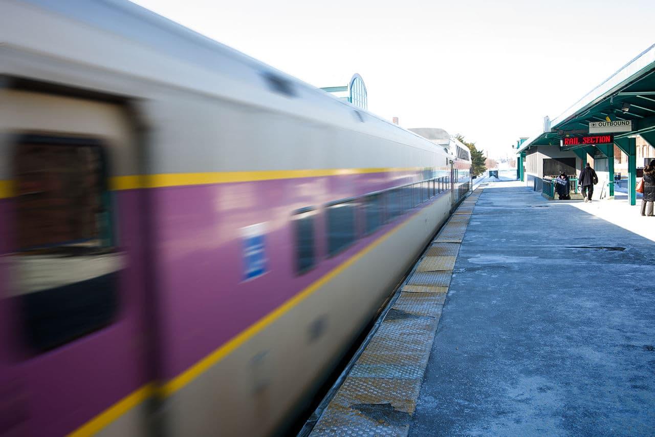 A northbound MBTA commuter rail train leaves Lynn station last month. (Jesse Costa/WBUR)