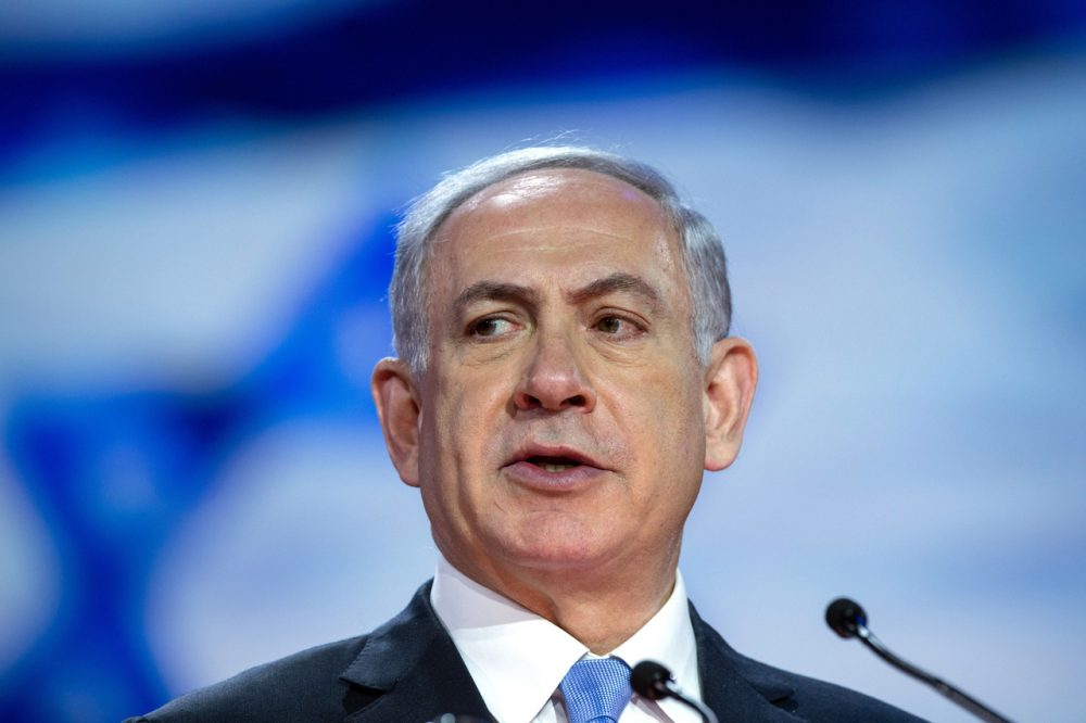 Israeli Prime Minister Benjamin Netanyahu addresses the American Israel Public Affairs Committee (AIPAC) policy conference in Washington, D.C., on March 2, 2015. (Nicholas Kamm/AFP/Getty Images)
