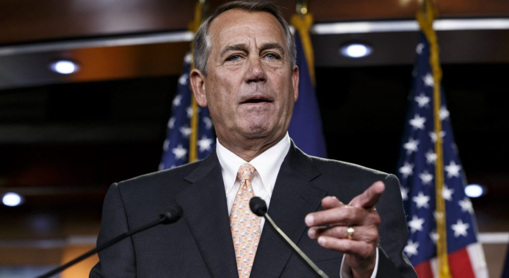 House Speaker John Boehner of Ohio responds to reporters about the problems in passing the Homeland Security budget because of Republican efforts to block President Barack Obama's executive actions on immigration, Thursday, Feb. 26, 2015, during a news conference on Capitol Hill in Washington. (J. Scott Applewhite/AP)