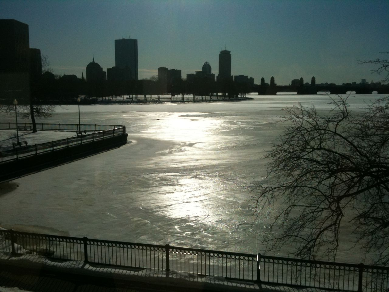 Authorities warn that while the Charles River might look frozen, the ice is unstable and dangerous to walk on. (James Walsh/Flickr)