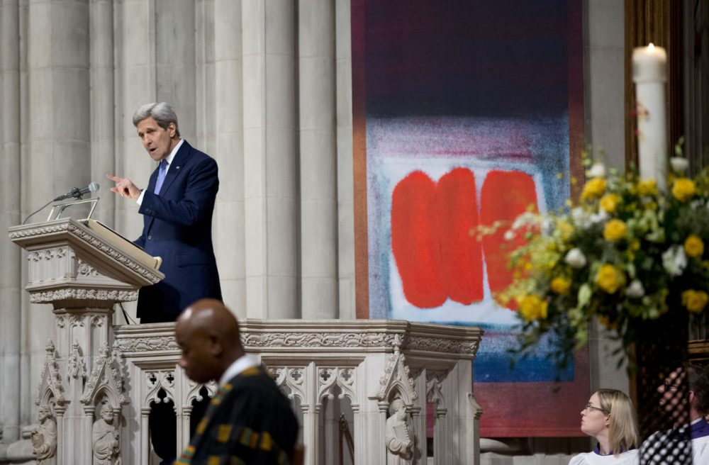 Secretary of State John Kerry pays tribute to the late former Massachusetts Sen. Edward William Brooke III, at the Washington National Cathedral in Washington, during funeral services. Brooke, the first African-American to be popularly elected to the U.S. Senate, died in January. (Manuel Balce Ceneta/AP)