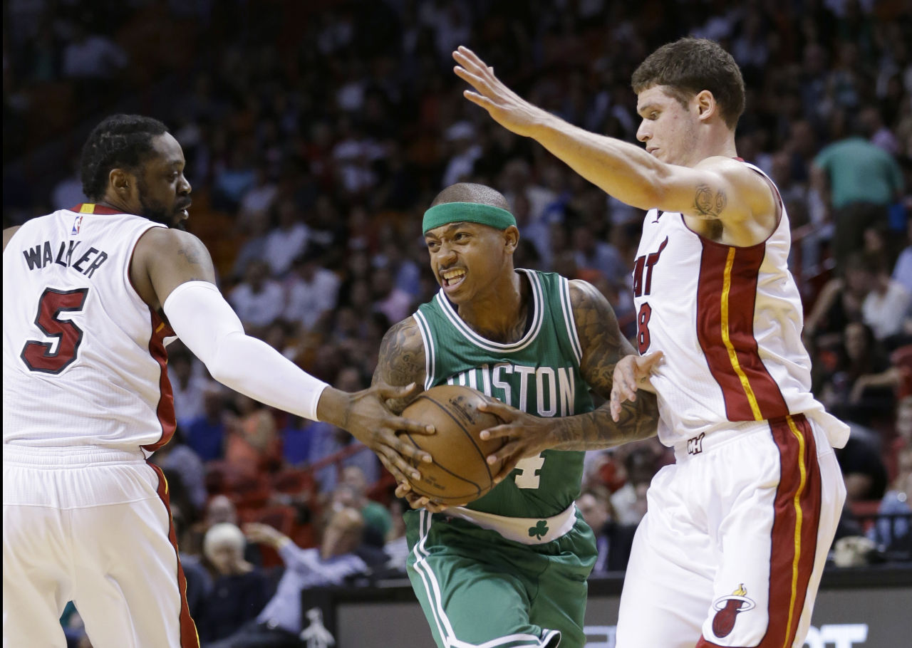 Isaiah Thomas scored 25 points in the Celtics' win over the Miami Heat. (Wilfredo Lee/AP)