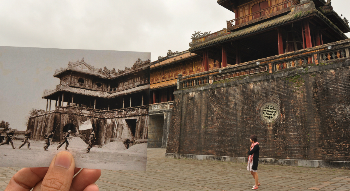 On a recent trip to Southeast Asia, Julie Wittes Schlack grappled with some complicated feelings. Pictured: Huế, Vietnam in 1968 and 2012. (Khánh Hmoong/flickr)